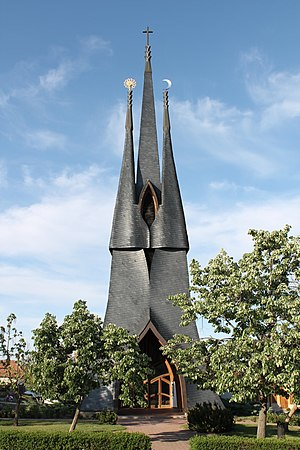 Organic architecture - Catholic church, Paks by Imre Makovecz