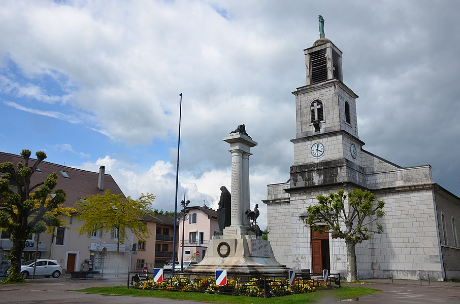 Catholic church of Divonne at the square
