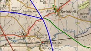 Catthorpe Interchange - 1940s map showing alignment of A427 overlaid with current roads