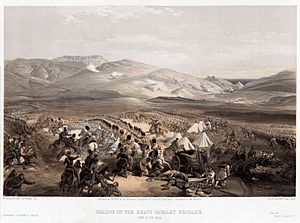 5th Dragoon Guards - William Simpson's lithograph depicting the 5th Dragoon Guards at Balaclava during the Crimean War