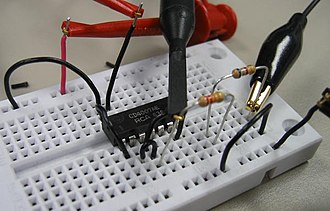 4000-series integrated circuits - CD4007A on a solderless breadboard