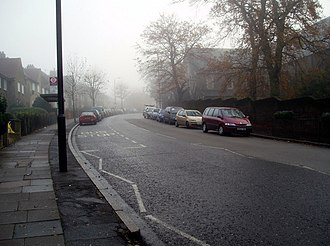 Upper Norwood - A misty day on Central Hill, Upper Norwood. To the right of the line of parked cars is the chapel of Virgo Fidelis Roman Catholic Girls' School.