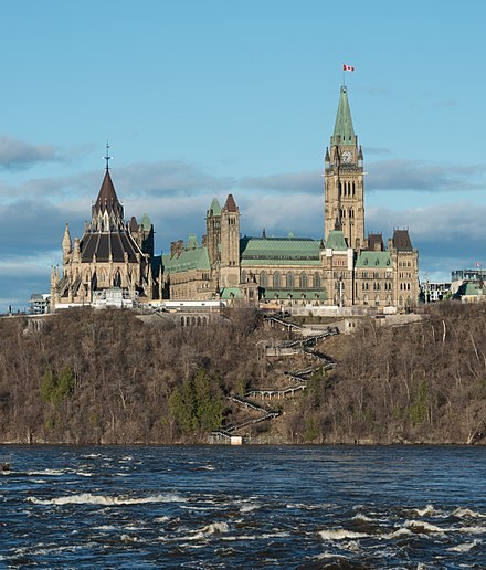 The Centre Block in Ottawa, where the House of Commons met until 13 December 2018. Centre Block and Library of Parliament, Ottawa, West view 20170422 2.jpg