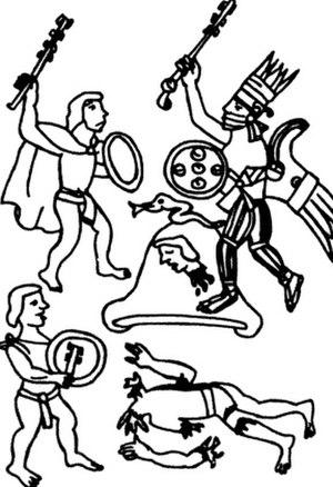 Centzonhuitznahua - Huitzilopochtli kills Centzonuitznaua, Florentine codex