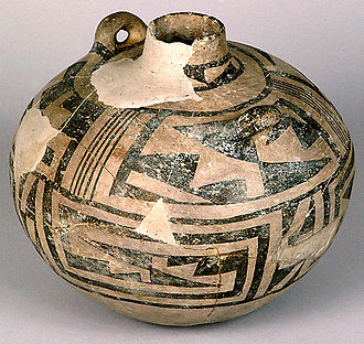 Pueblo III Period - A canteen (pot), dated about AD 1075 to 1300, excavated from the ruins in Chaco Canyon, New Mexico.