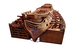 Ship camel - Model of a ship fitted with ship camels