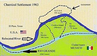 Chamizal dispute - Map of the Chamizal Settlement of 1963
