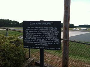 Horace Williams Airport - Image: Chapel Hill Airport historical marker