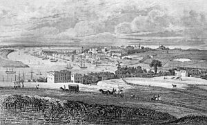"Chatham Dockyard - Engraving of ""Chatham Dockyard from Fort Pitt"" from Ireland's History of Kent, Vol. 4, 1831. Facing p. 349. Drawn by G. Sheppard, engraved by R. Roffe."
