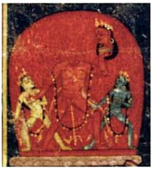 A decapitated, nude, red-complexioned woman stands, raising her left arm, which holds her severed head. She is flanked by two smaller, nude women: a white-coloured one (left) and a blue-coloured one (right).