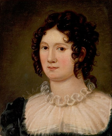 Claire Clairmont, Mary's stepsister and mistress of Lord Byron (portrait by Amelia Curran, 1819) Claire Clairmont, by Amelia Curran.jpg