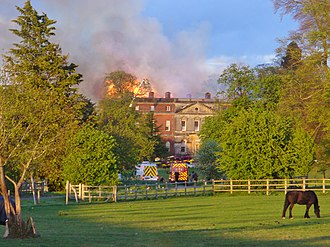 Clandon Park House - House on fire in April 2015