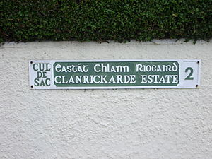 Postal addresses in the Republic of Ireland - Image: Clanrickarde St Cork 2 sign