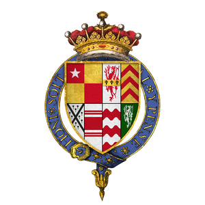 John de Vere, 15th Earl of Oxford - Arms of Sir John de Vere, 15th Earl of Oxford, KG -- Quarterly: 1) de Vere; 2) Kilrington; 3) de Clare; 4) Sergeaux: 5) Badlesmere; 6) Folliot; 7) Bolebec