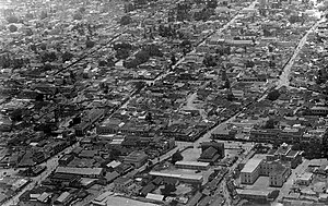 Coimbatore District (Madras Presidency) - Aerial view of the Coimbatore Townhall zone in 1930