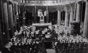 St Mary's Pro-Cathedral - The funeral of Michael Collins in 1922 - a contemporary newspaper drawing. This image shows the original pre-Vatican II Turnenelli high altar, the pulpit (right) and Archbishop's cathedra (left, with cover)
