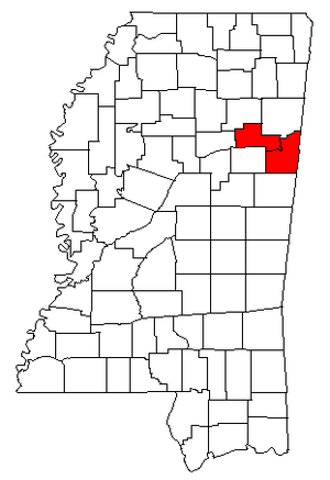 Columbus-West Point, MS CSA - Map of Mississippi highlighting the Columbus-West Point combined statistical area