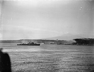 HMS Ulster (R83) - 1943, participating in commando landings at Sicily
