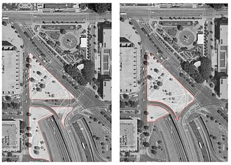 American Veterans Disabled for Life Memorial - Comparison of the memorial's original site (left) and the site after modification by P.L. 109-396, which truncated the southern portion of the proposed grounds.