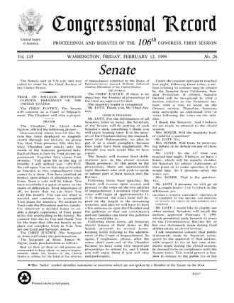 A page from the February 12, 1999, edition of the Congressional Record, published during the impeachment trial of former President Bill Clinton. Formal citation: 1999 Congressional Record, Vol. 145, Page S1457 . CongRec.png