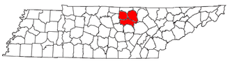Cookeville micropolitan area - Location of the Cookeville Micropolitan Statistical Area in Tennessee