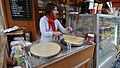 Crêpe making at Quasimodo café, Rue d'Arcole, Paris 2009.jpg