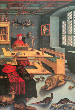 Cabinet (room) - Lucas Cranach the Elder paints Cardinal Albrecht of Brandenburg as Saint Jerome (with friends) in his study, 1526.