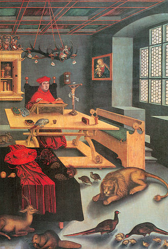 Cabinet (room) - Cardinal Albrecht of Brandenburg as Saint Jerome (with friends) in his study by Lucas Cranach the Elder, 1526.