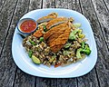 Crispy chicken and rice at Highgate Cricket Club, Crouch End, angle view.jpg