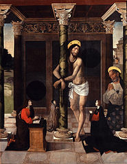 Christ tied to the column with Saint Peter and the donors