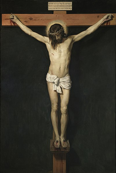 Crucifixion, representing the death of Jesus on the Cross, painting by Diego Velázquez, 17th century Cristo crucificado.jpg