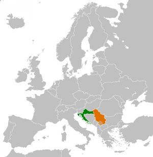 Croatia–Serbia border dispute - Croatia (green, to the west) and Serbia (orange, to the east) on the map of Europe