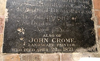 John Crome - Crome's grave in St. George's Colegate, Norwich