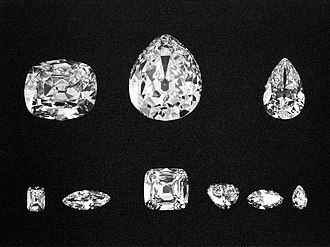Cullinan Diamond - The nine major stones. Top: Cullinans II, I, and III. Bottom: Cullinans VIII, VI, IV, V, VII and IX.