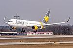 D-ABUA Condor Boeing 767-330(ER)(WL) coming in from Cancun MMUN on Rwy25R @ Frankfurt - Rhein-Main International (FRA - EDDF) - 08.04.2015 (16933766849).jpg