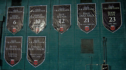 "Banners for the ""Hall of Tradition"" members are displayed at RFK Stadium. D.C. United Hall of Tradition.jpg"