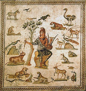 Orpheus - Roman Orpheus mosaic, a very common subject. He wears a Phrygian cap and is surrounded by the animals charmed by lyre-playing