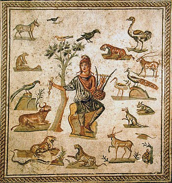 Orpheus surroundend by animals. Ancient Roman ...