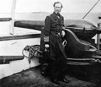John A. Dahlgren - Rear Admiral Dahlgren, on board the USS ''Pawnee'', beside a 50-pounder Dahlgren rifle (one of his bottle-shaped cast-iron cannons), c. 1864.