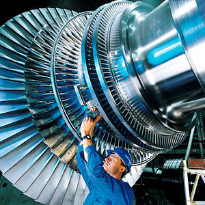 Steam turbine - The rotor of a modern steam turbine used in a power plant