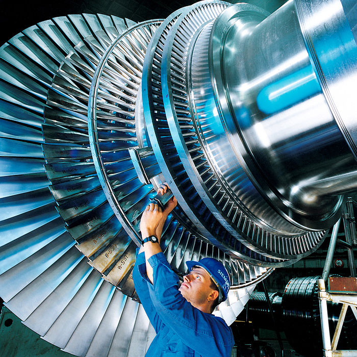 A rotor of a modern steam turbine, used in a power plant - Steam turbine