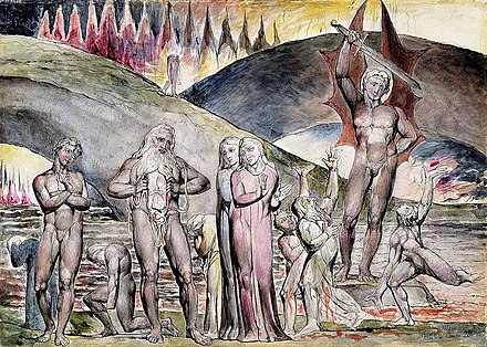 "William Blake's illustration of Inferno (19th century) shows Muhammad pulling his chest open which has been sliced by a devil to symbolize his role as a ""false prophet"". Dante and Virgil Meet Muhammad and His Son-in-law, Ali in Hell.jpg"