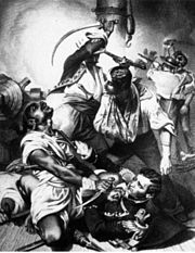"""Decatur's Conflict with the Algerine at Tripoli. Reuben James Interposing His Head to Save the Life of His Commander"" Copy of engraving by Alonzo Chappel, August, 1804."