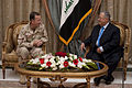Defense.gov News Photo 100727-N-0696M-244 - Chairman of the Joint Chiefs of Staff Adm. Mike Mullen U.S. Navy meets with Iraqi President Jalal Talabani in Baghdad on July 27 2010. Mullen s.jpg