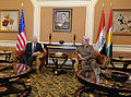 Defense.gov News Photo 110408-F-DQ383-019 - Secretary of Defense Robert M. Gates talks with Kurdistan Regional Government President Barzani after arriving in Irbil Iraq during a trip on.jpg