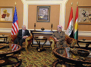 Foreign relations of Iraqi Kurdistan - US Secretary of Defense Robert Gates talks with KRG President Massoud Barzani in Erbil, on 8 April 2011.
