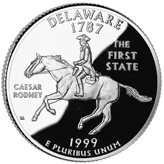 Caesar Rodney - Caesar Rodney on the 1999 Delaware State Quarter.