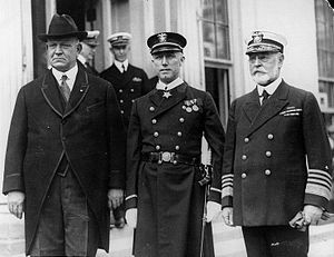 Edward Walter Eberle - Secretary of the Navy Edwin C. Denby, Chief Gunner George Bradley and Admiral Edward W. Eberle at the White House after Bradley had been presented with the Medal of Honor by President Calvin Coolidge.