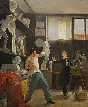 A Young Artist (Ditlev Blunck) Examining a Sketch in a Mirror - Image: Der Bildhauer Christen Christensen