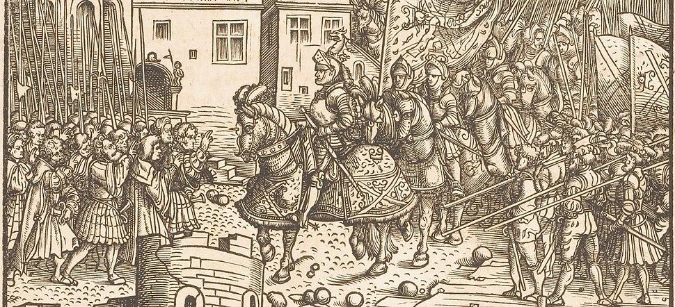 Der Weisskunig 26 Detail Maximilian on horseback in besieged town